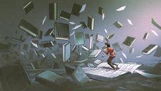Un jeune homme debout sur un livre ouvert entouré de dizaines d'autres livres qui flottent autour de lui