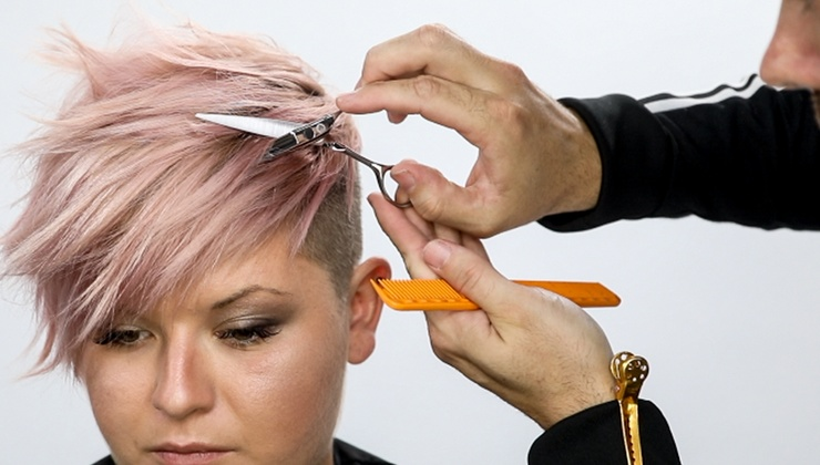 Pink Pixie Haircut and Color