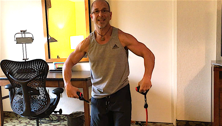 Travel Workout for Shoulders with Resistance Bands in Hotel Room