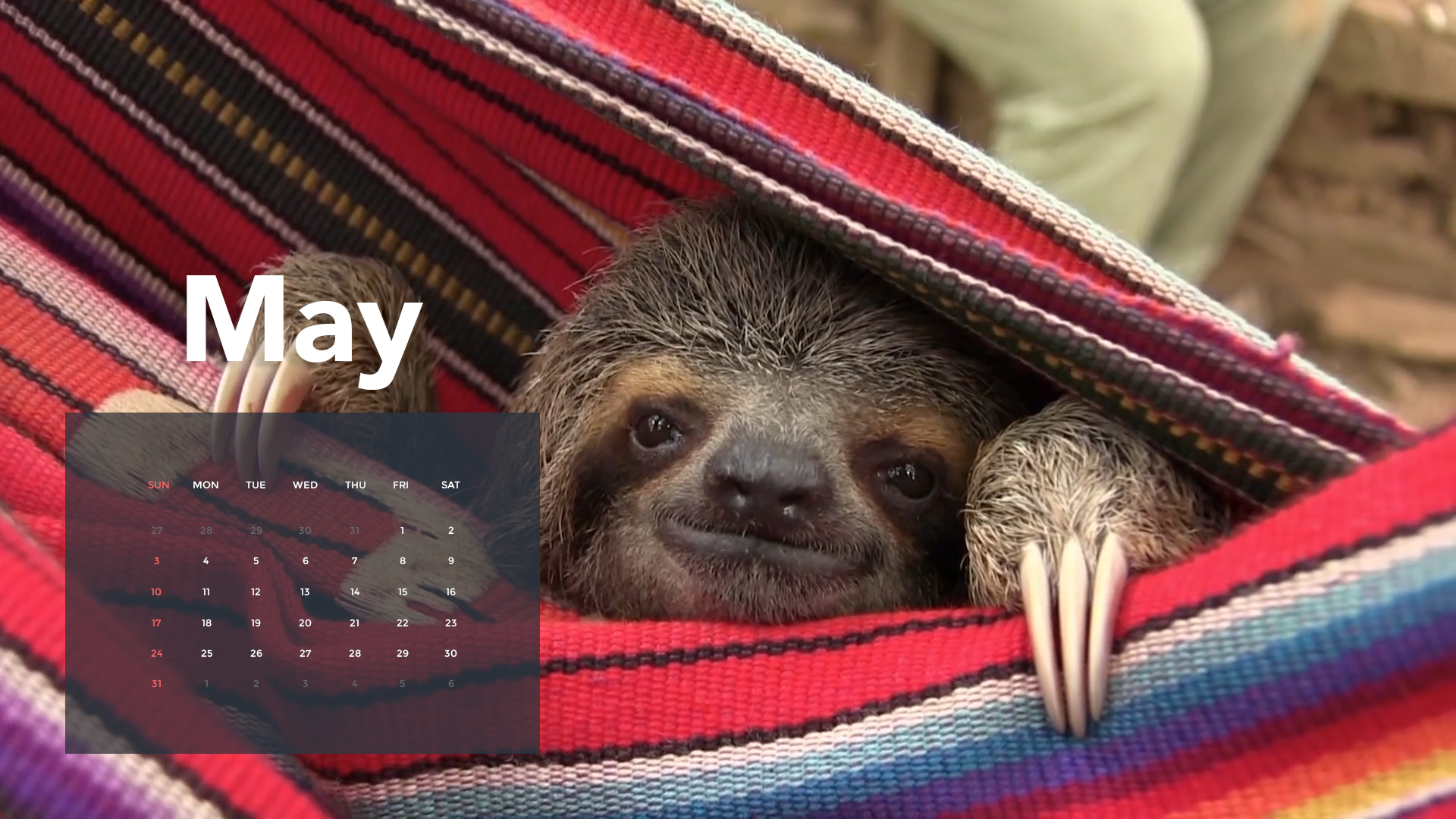 A1 Sloth Calendar